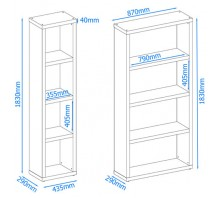 Maine 4 Shelf Wide Bookcase