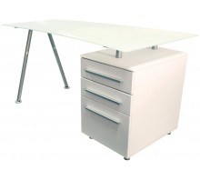 Single Pedestal Glass Top Computer Workstation - Cleveland3