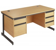 Straight Cantilever Double Pedestal Desk