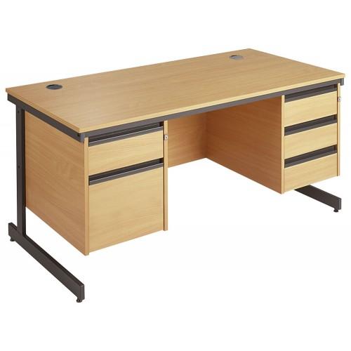 Straight Cantilever Double Pedestal Desk