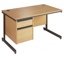 Straight Cantilever Single 2 Drawer Pedestal Desk