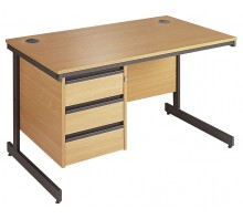Straight Cantilever Single 3 Drawer Pedestal Desk