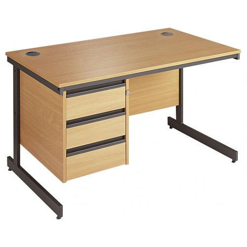 Straight Cantilever Single 3 Drawer Pedestal Desk