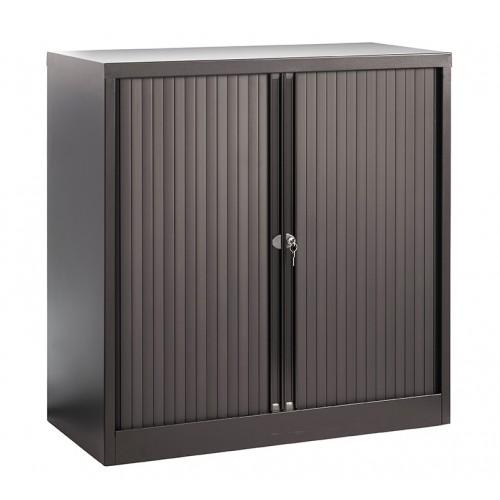 Low Steel Tambour Cupboard