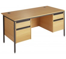 Straight 25 GL H Frame Desk Double Pedestal Desk