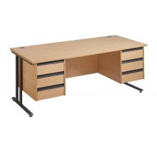 Straight 25 GL C Frame Double Pedestal Desk