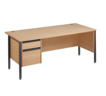 Straight 25 GL H Frame Single Pedestal Desk