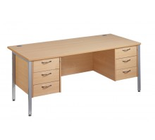 Straight 25 SL H Frame Desk Double Pedestal Desk