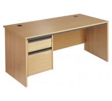 Straight Panel Single 2 Drawer Pedestal Desk