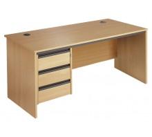 Straight Panel Single 3 Drawer Pedestal Desk