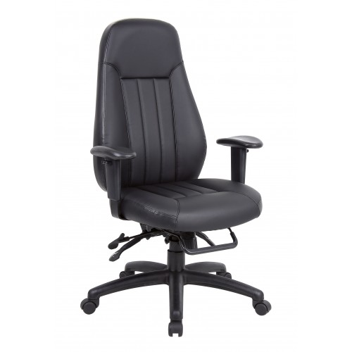 Zeus High Back Leather Task Operator Chair with Arms