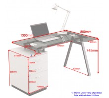 Single Pedestal Glass Top Computer Workstation - Cleveland4