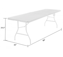 8 foot x 30 inch Fold-in-Half Blow Molded Folding Table