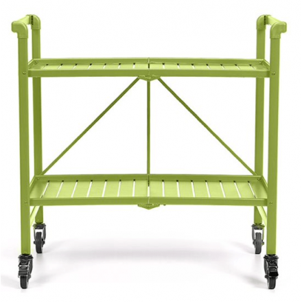 INTELLIFIT Outdoor Or Indoor Folding Serving Cart With Two Slatted Shelves