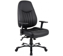 Barcelona Deluxe High Back Leather Operator Chair with Arms
