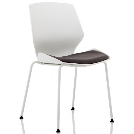 Florence White Frame Dark Grey Fabric Visitor Chair