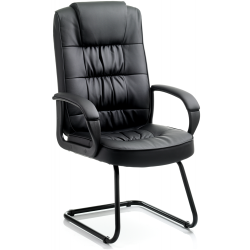 Moore Leather Cantilever Visitor Chair with Arms