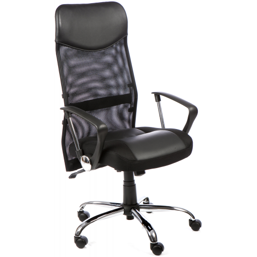 Vegas Mesh High Back Executive Leather Chair with Arms