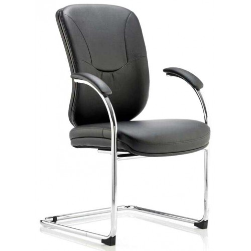 Mirage II Leather Cantilever Visitors Chair with Arms