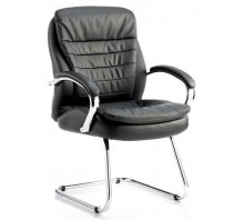Rocky Leather Cantilever Visitor Chair with Arms