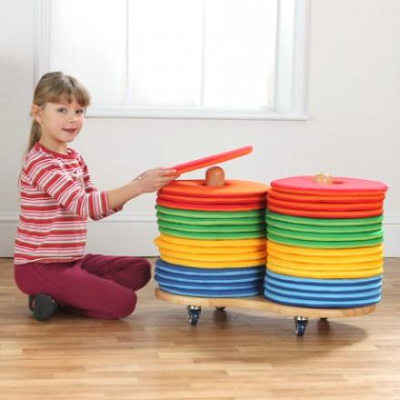Rainbow Circular Cushions & Donut Trolley Set of 32