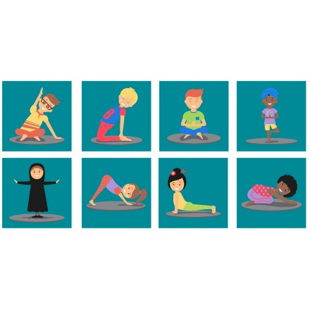 Yoga Position Indoor / Outdoor Mini Placement Tiles with Free holdall