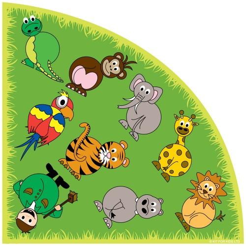 Zoo Animals Corner Placement Carpet