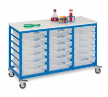 Mobile 18 Slot Metal Frame Tray Storage Unit