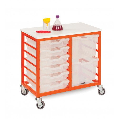 Mobile 12 Slot Metal Frame Tray Storage Unit