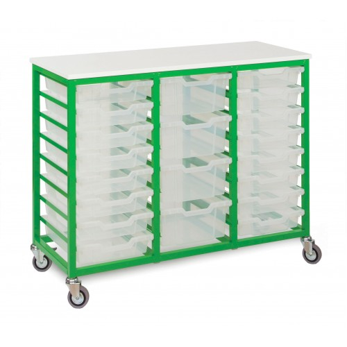 Mobile 24 Slot Metal Frame Tray Storage Unit