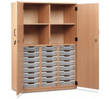 24 Slot Tray & Shelf Storage Cupboard