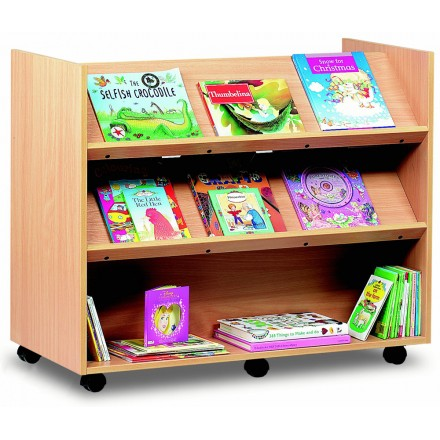 2 Sided 2 Angled & 1 Straight Shelf Library Unit