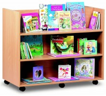 2 Sided 3 Straight Shelf Library Unit