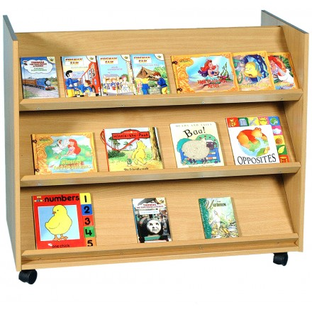 2 Sided 3 Angled Shelf Library Unit