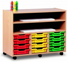 12 Slot Tray & Shelf Storage Unit