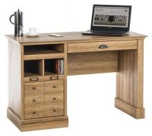 Single Pedestal Computer Desk - Scribed Oak