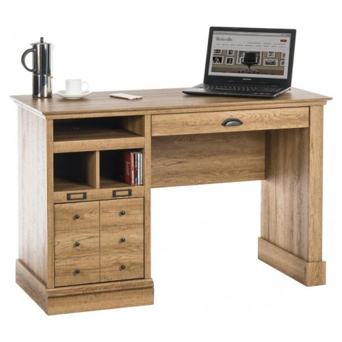 Single Pedestal Computer Desk - Scribed Oak