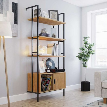Hythe Wall Mounted 4 Shelf Bookcase with Door