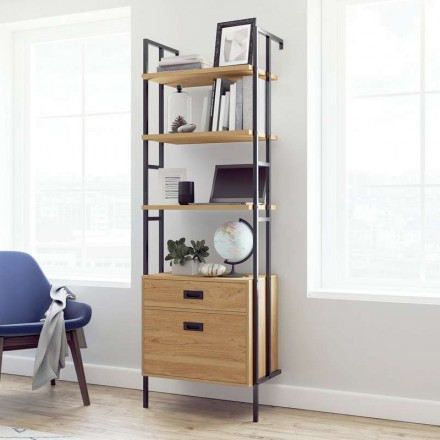 Hythe Wall Mounted 4 Shelf Bookcase with Drawers